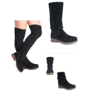 Muk Luks Kelby Foldable Cable Knit Sock Boot 8